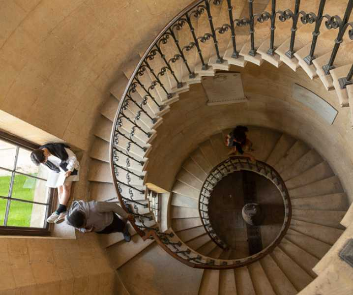 The Library is at the top of an 18th century cantilevered staircase.