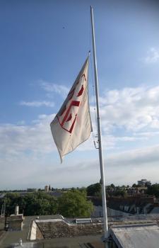 College flag at half mast