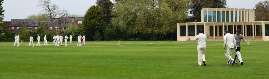 Worcester's cricket team play on an extensive sportsfield overlooked by a Cricket Pavilion