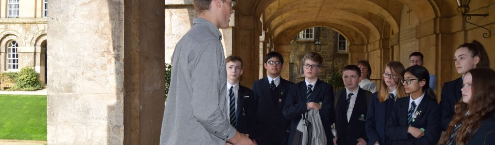 School students on a tour of college