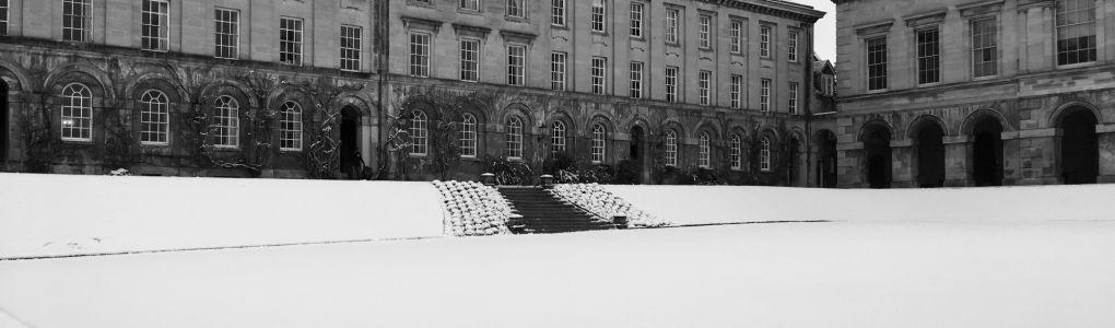 Front quad under snow. Credit: Allison Leslie